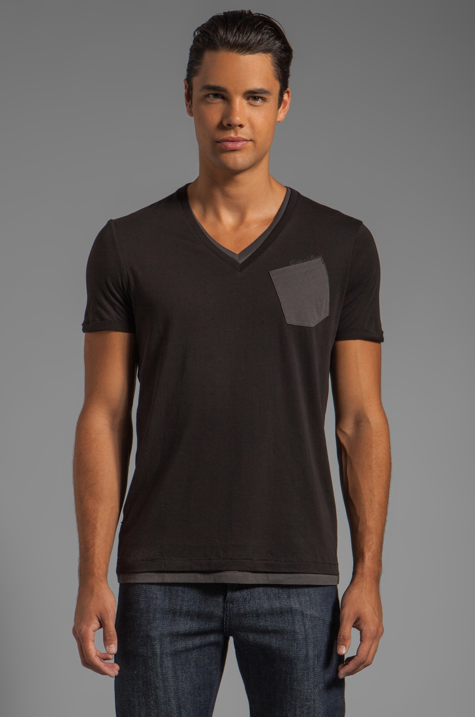 G-Star Spike Double V Tee in Black