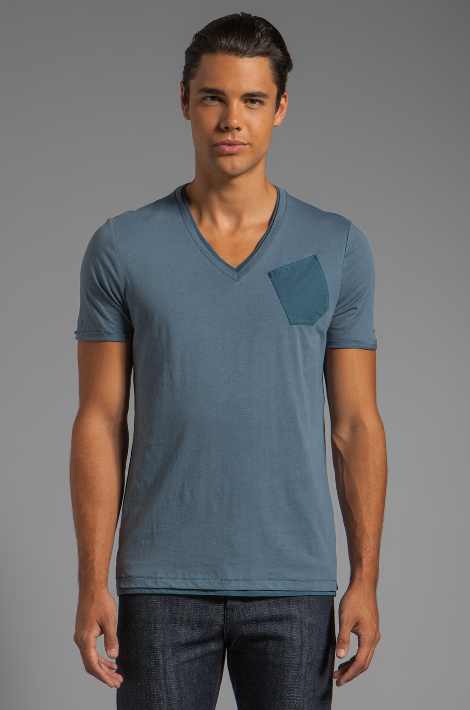 G-Star Spike Double V Tee in Avio