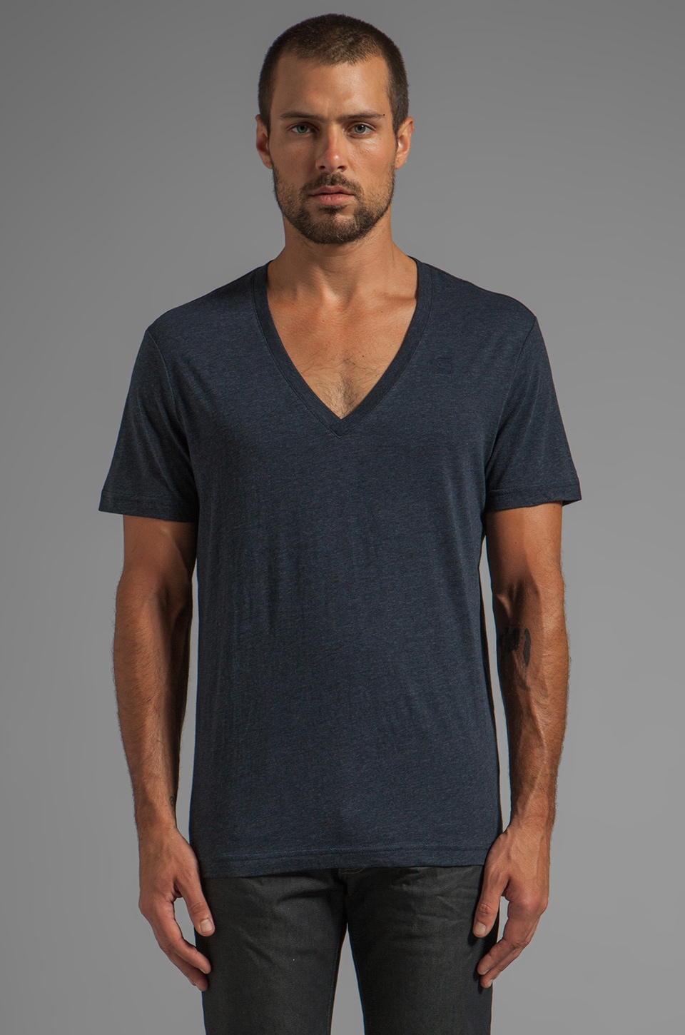 G-Star V Neck Double Pack in Mazarine Blue