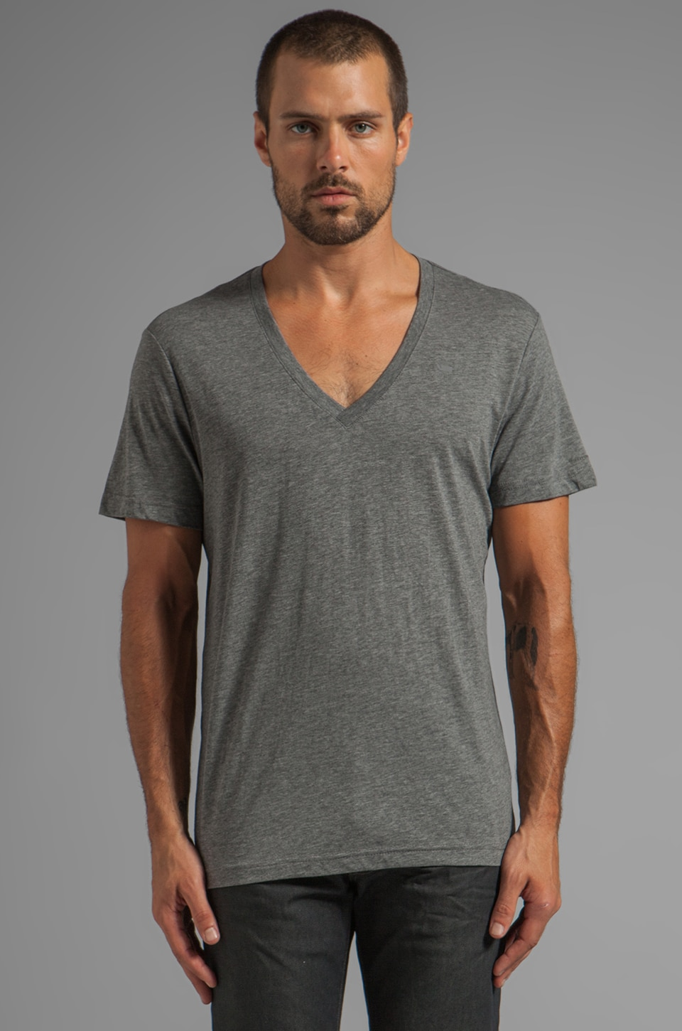 G-Star V Neck Double Pack in Castor Heather