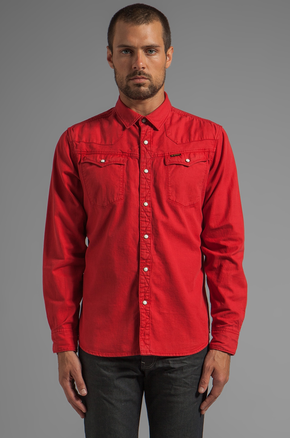 G-Star Tailor Long Sleeve Shirt in Oil Red