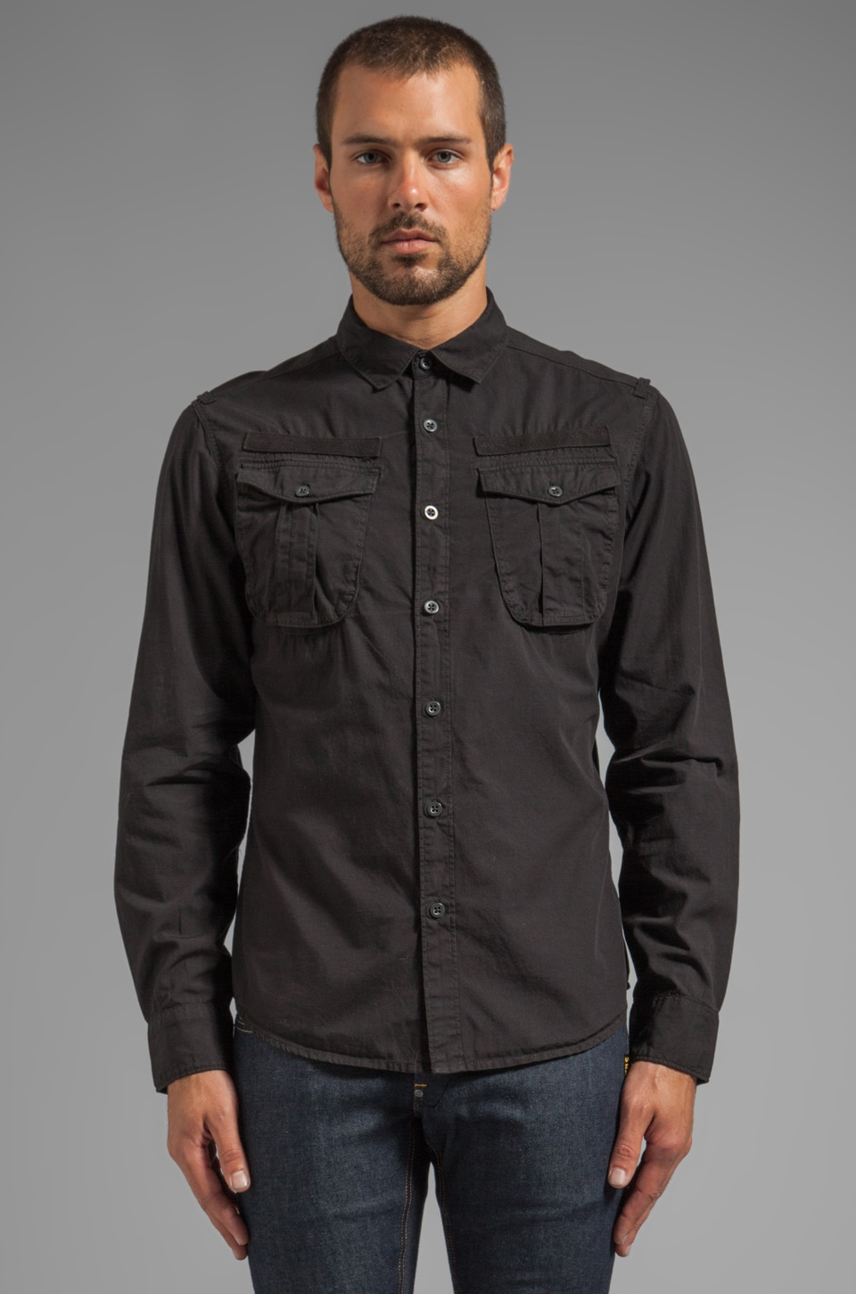 G-Star Ernest Roll Up Shirt in Black