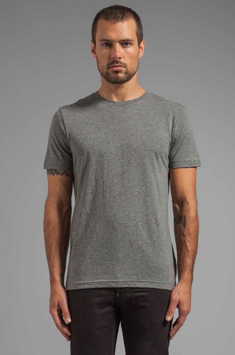 G-Star Crew Neck Double Pack in Castor Heather