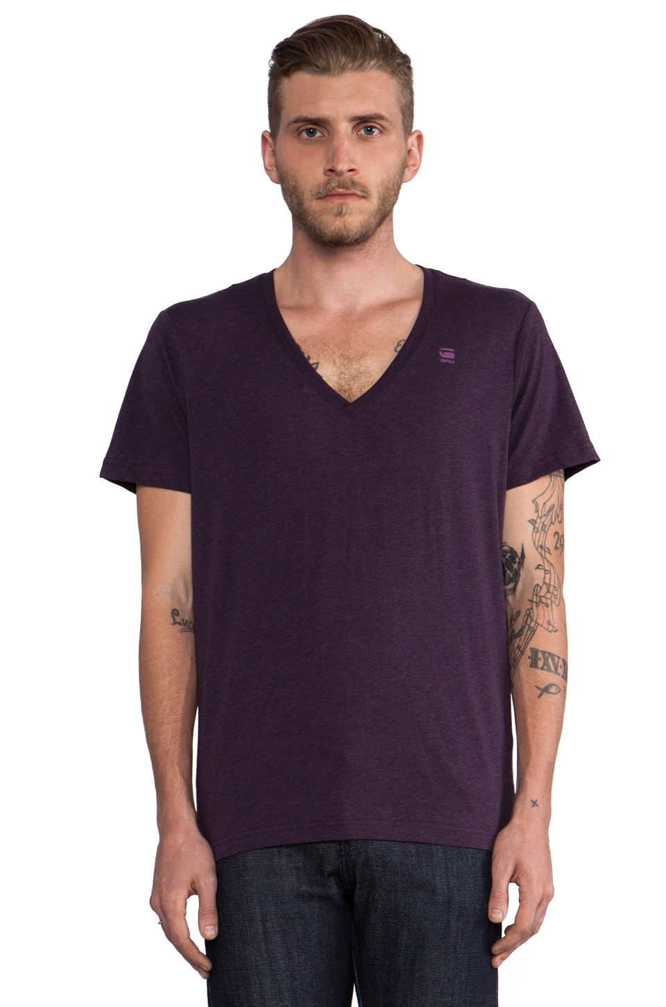 G-Star 2 Pack V-Neck Tees in Aubergine Heather