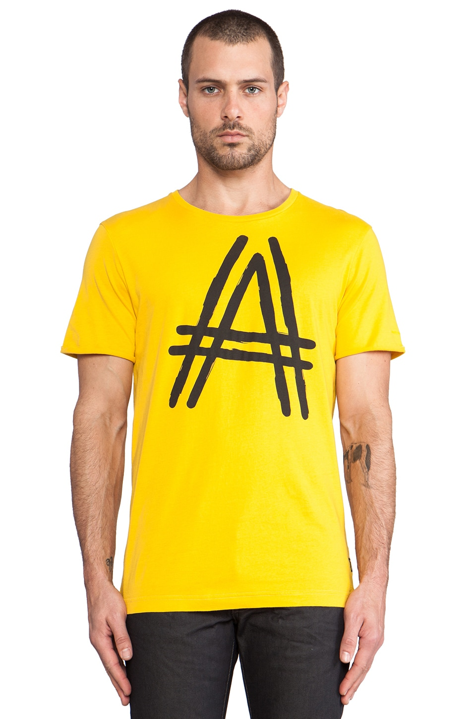 G-Star 25th Anniversary The A-Crotch T-Shirt in Flock Print