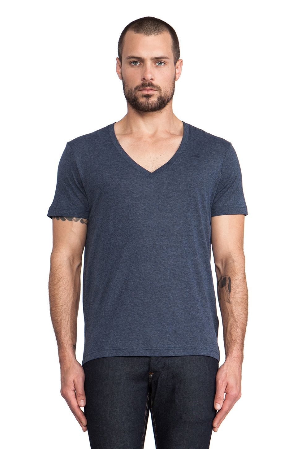 G-Star 2 Pack V-Neck Tees in Fantem Blue Heather