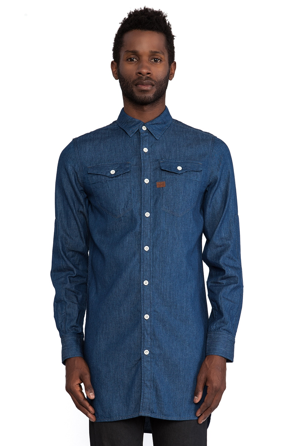 G-Star Tacoma XL Long Recruit Denim Shirt in Rinsed