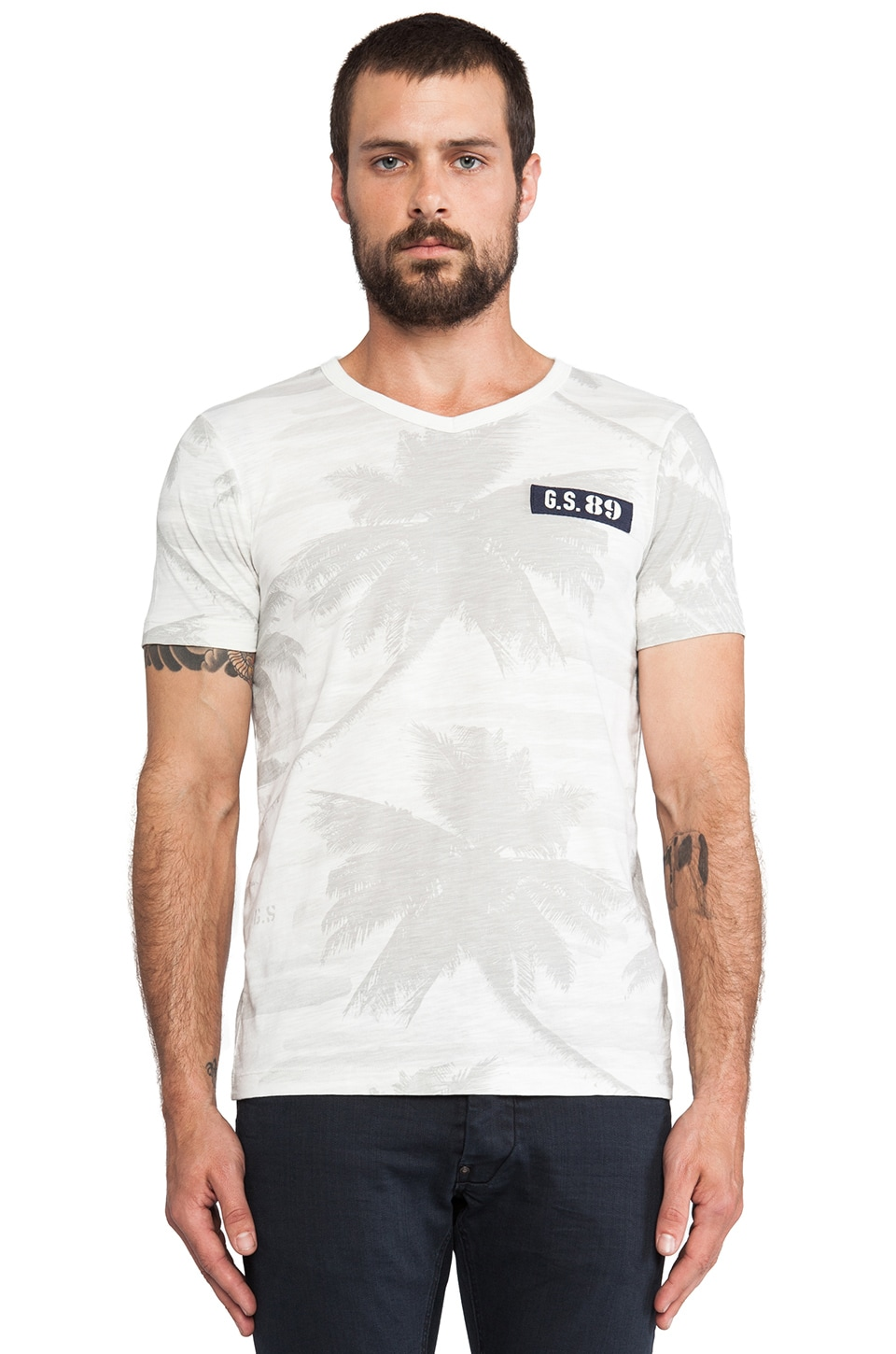 G-Star Mate Palm T-Shirt in Milk
