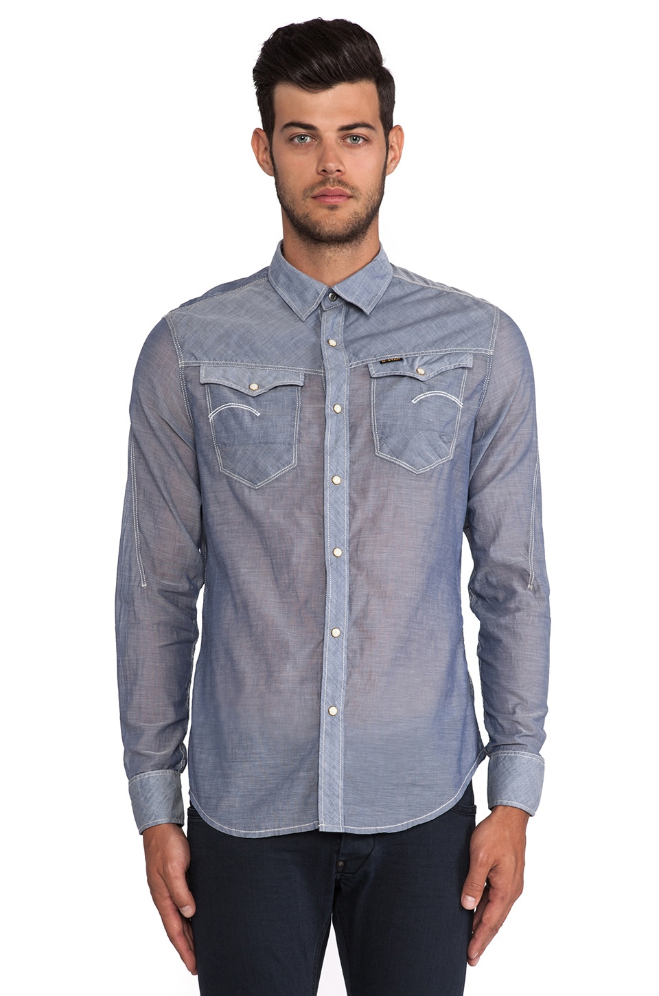 G-Star Arc 3D Chambray Shirt in Royal Blue