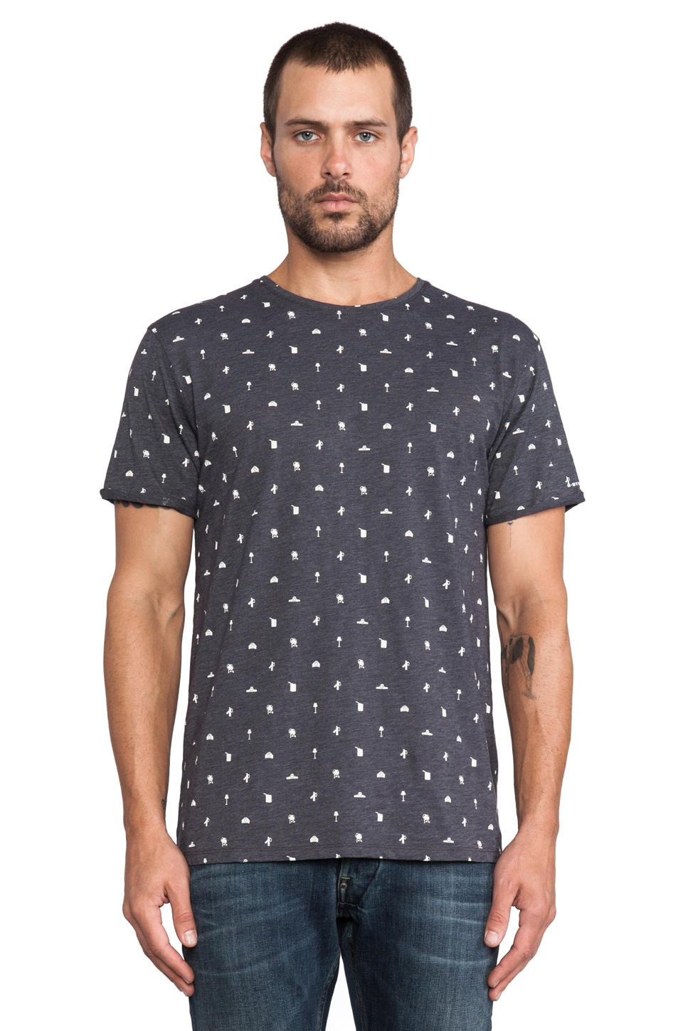 G-Star Random Coated Allover Tee in Petrol
