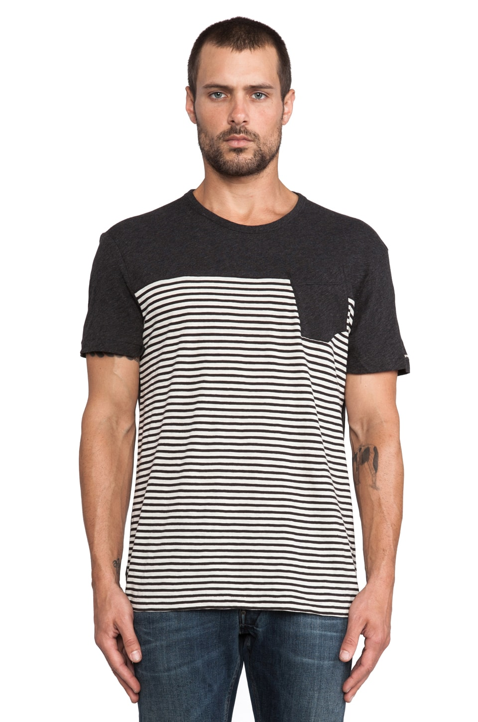 G-Star Django Striped Tee in Black Heather