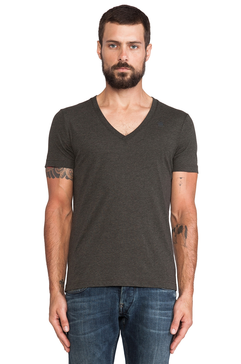 G-Star 2 Pack V-Neck in Asfalt Heather