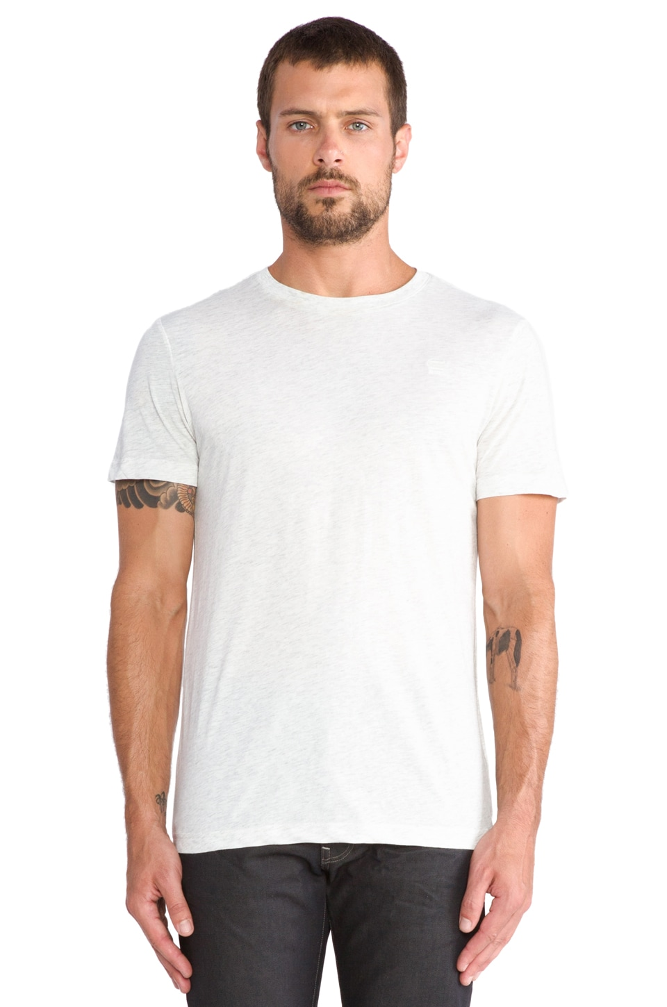 G-Star 2 Pack Crew Neck Tees in Heathered White