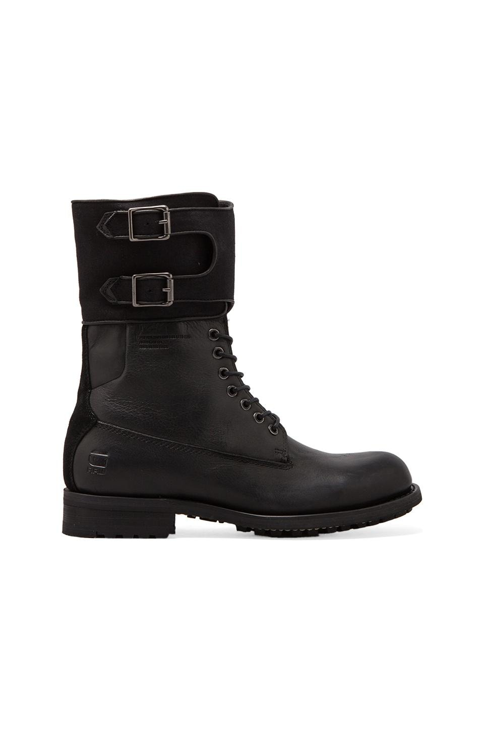 G-Star Patton IV Cavalry Cuff Boot in Black Leather & Textile