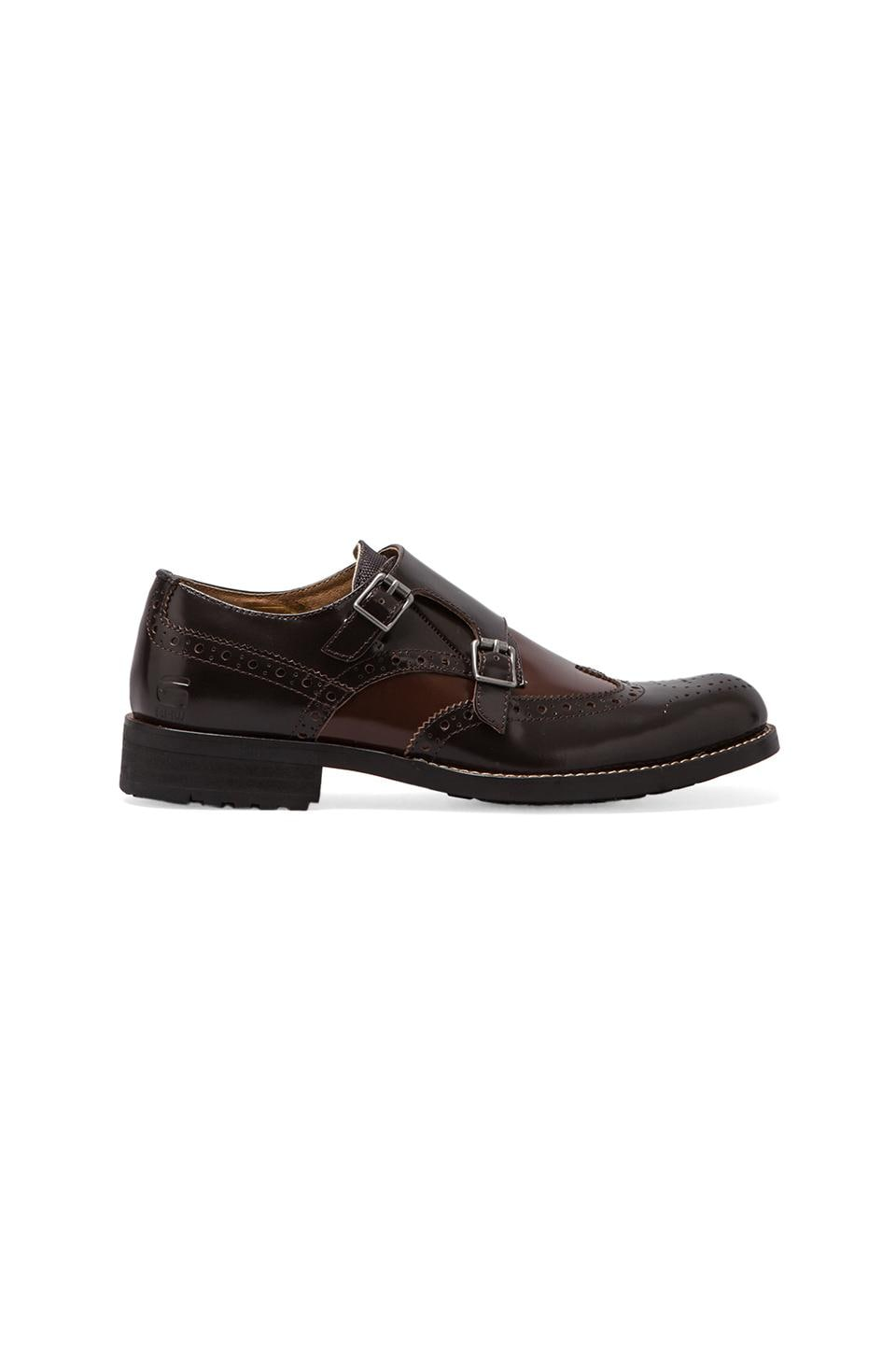 G-Star Manor Credo Shine Wingtip Double Monk in Dark Brown Textured Leather w/ Mild Brown