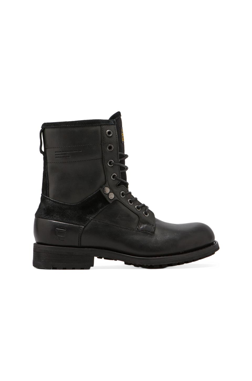 G-Star Patton IV Marker Mix Boot in Black Leather & Textile