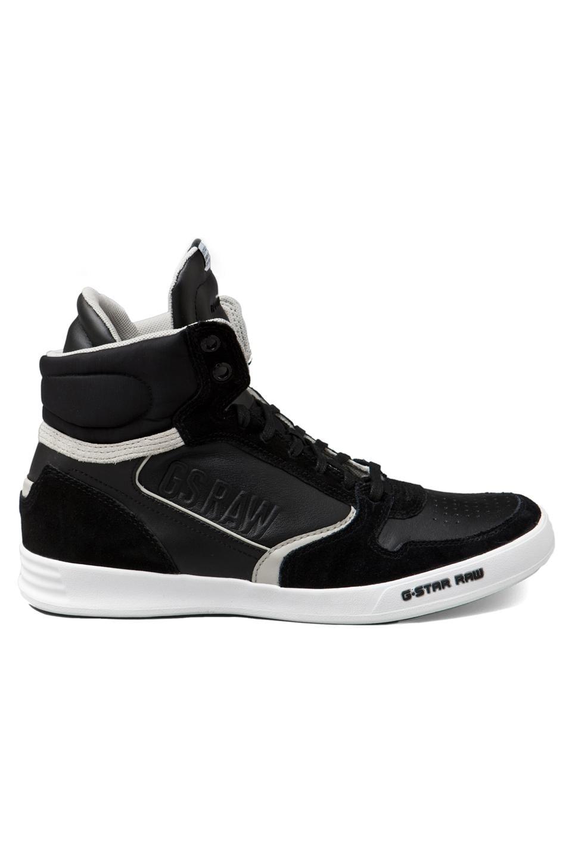 G-Star Yard Pyro Hi Top Sneaker in Black Leather/Suede