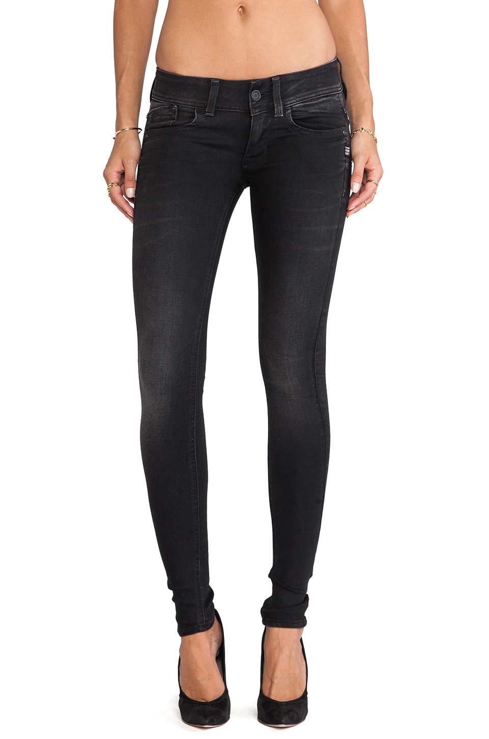 G-Star Lynn Skinny in Slander Black Super Stretch Dark Aged