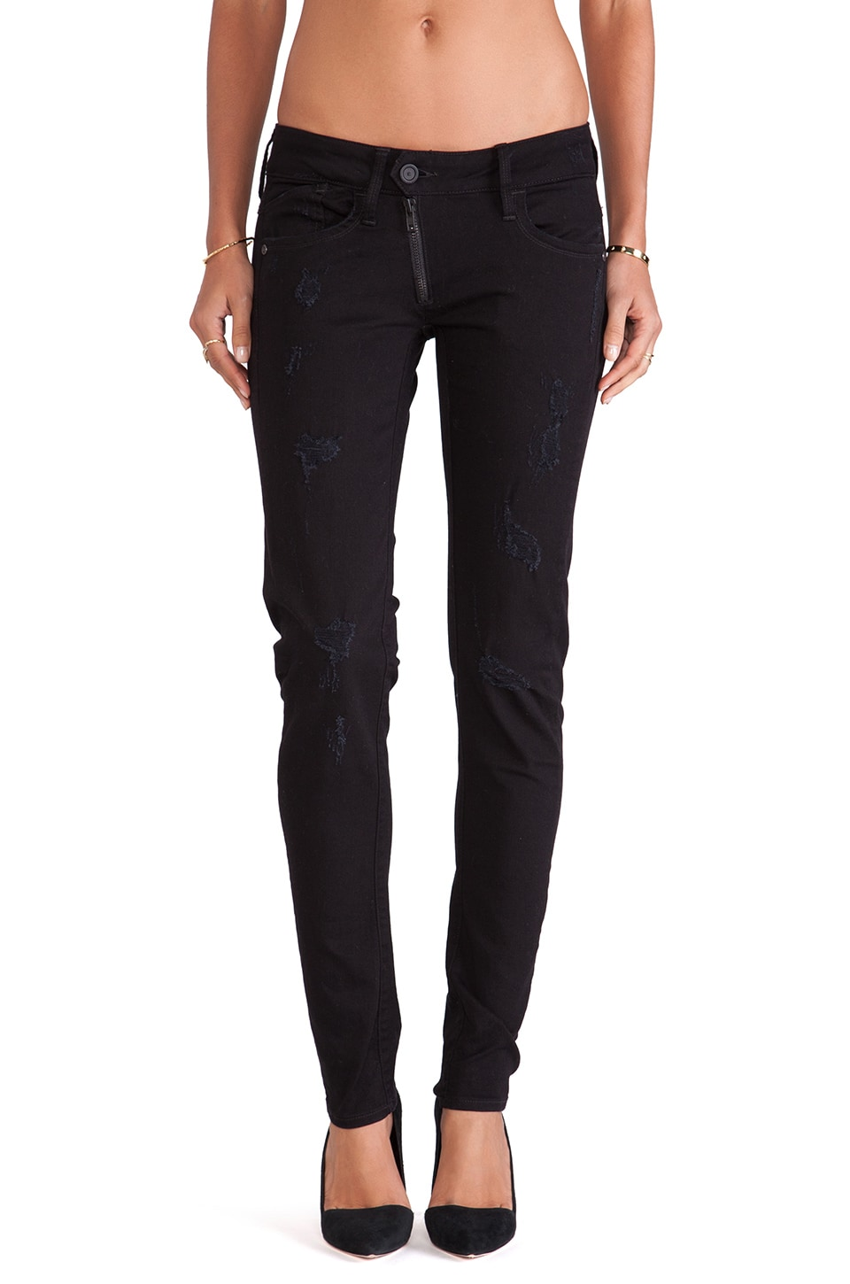 G-Star Lynn Zip Skinny Comfort Turner Black Denim Dark Aged Destroy