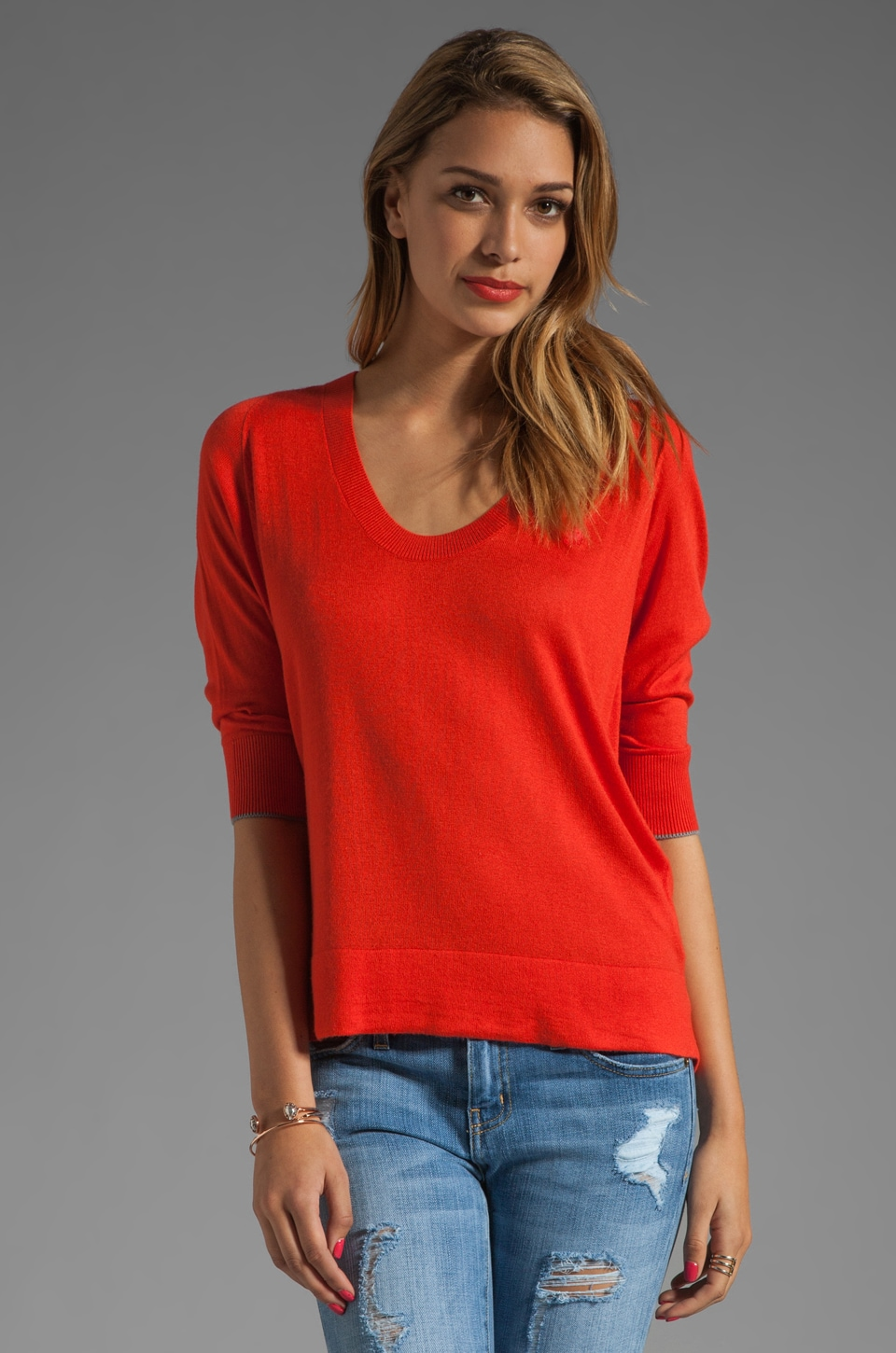 G-Star New Blast 3/4 Sleeve Knit in Scarlet