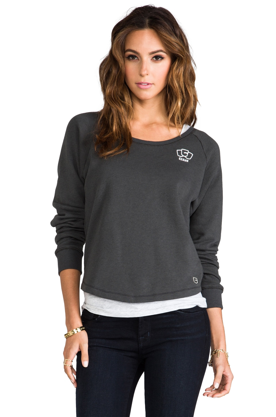 G-Star Roots Double R-Neck Sweatshirt in Black
