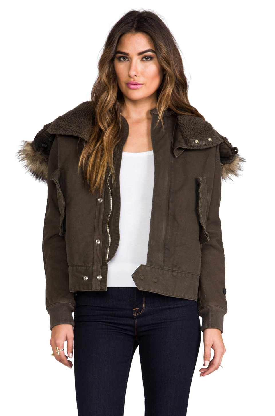 G-Star Army Flight Bomber Jacket with Faux Fur Trim in Arsenic