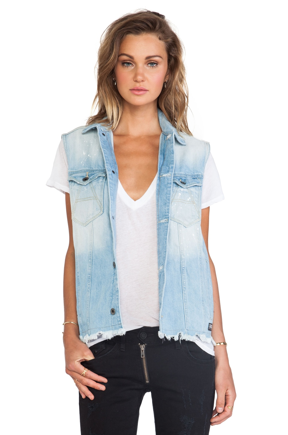 G-Star A Crotch Ripped Jacket Sleeveless in Light Aged Ripped