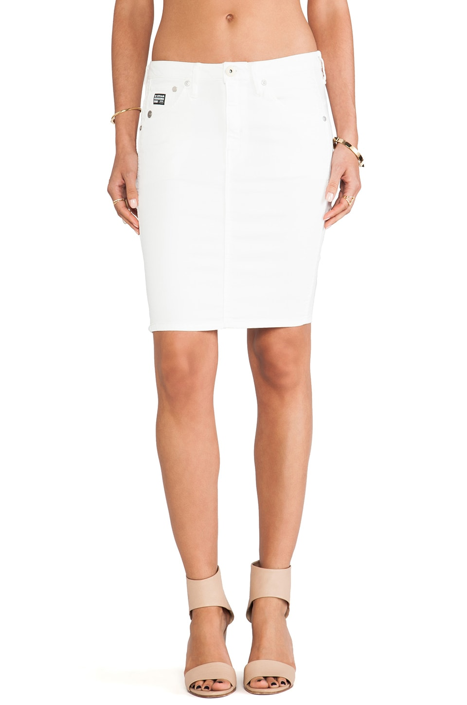 G-Star Arc Super Slim Skirt in White Talc Lt Aged