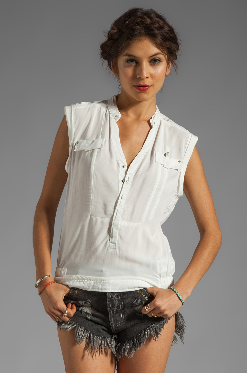 G-Star Tooper Crusader Sleeveless Top in Milk