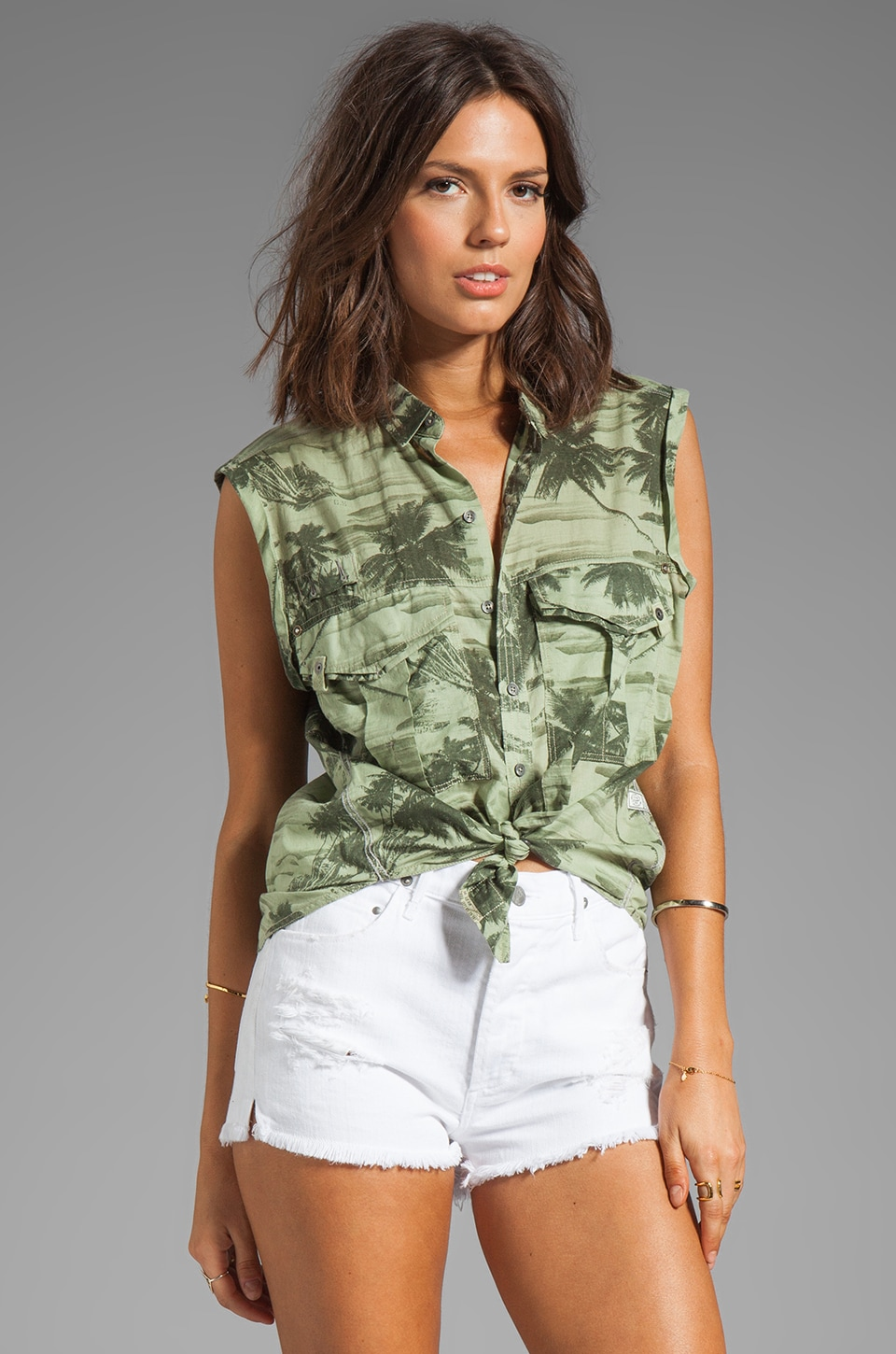 G-Star Beach Rovic Camo Boyfriend Shirt in Spring Green
