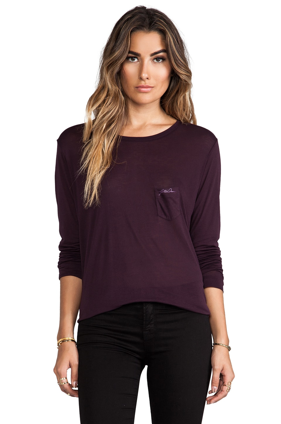 G-Star Loose R Tee Long Sleeve in AUBERGINE