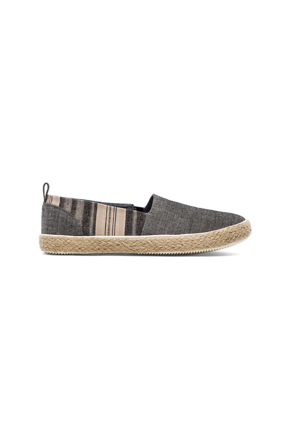 Generic Surplus Slip On in Black Chambray & Striped Linen