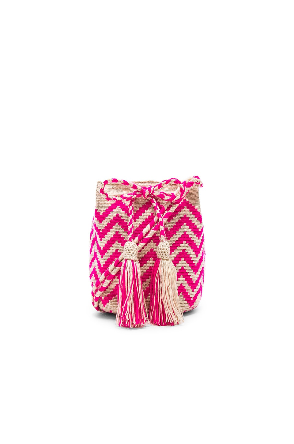 Guanabana Zig Zag Medium Bucket Bag in Pink