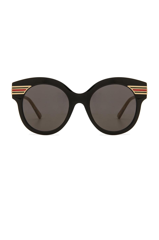 1aa2ae50370 Gucci Oversize Cat Eye Acetate in Shiny Black   Grey