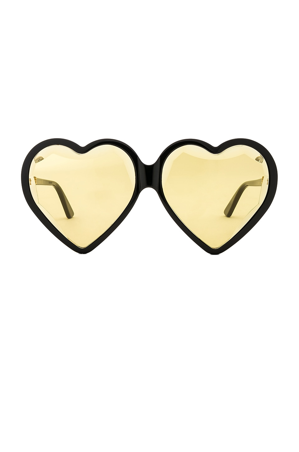 Gucci Heart Frame Acetate in Shiny Black & Yellow