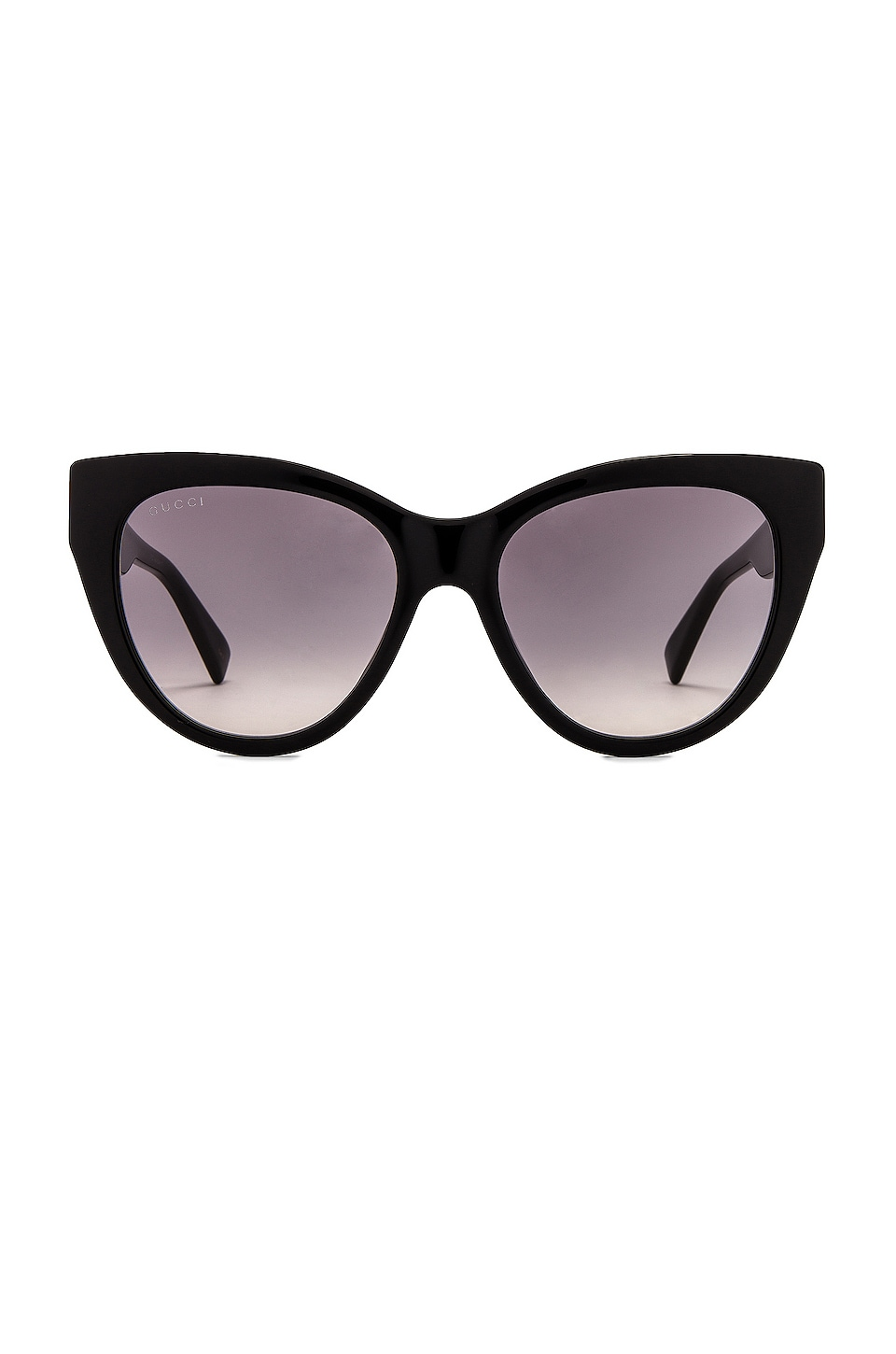 Gucci Web Plaque Sunglasses in Shiny Solid Black & Grey Gradient