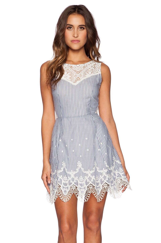 Greylin Mindi Lace Trim Dress in Blue