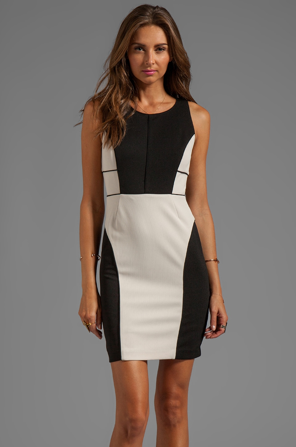Greylin Angelina Color Blocked Dress in Ivory