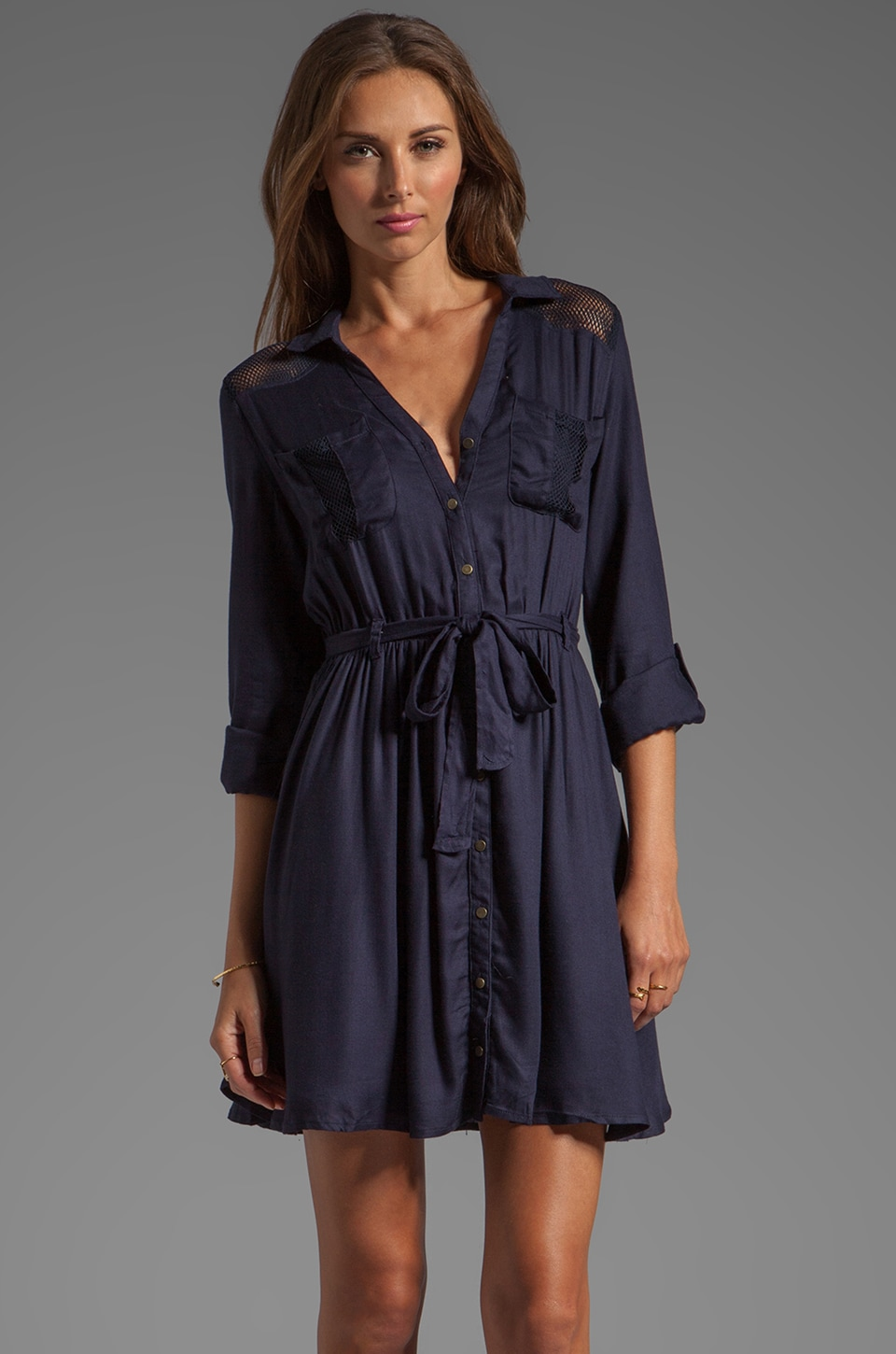 Greylin Jackson Shirt Dress in Navy