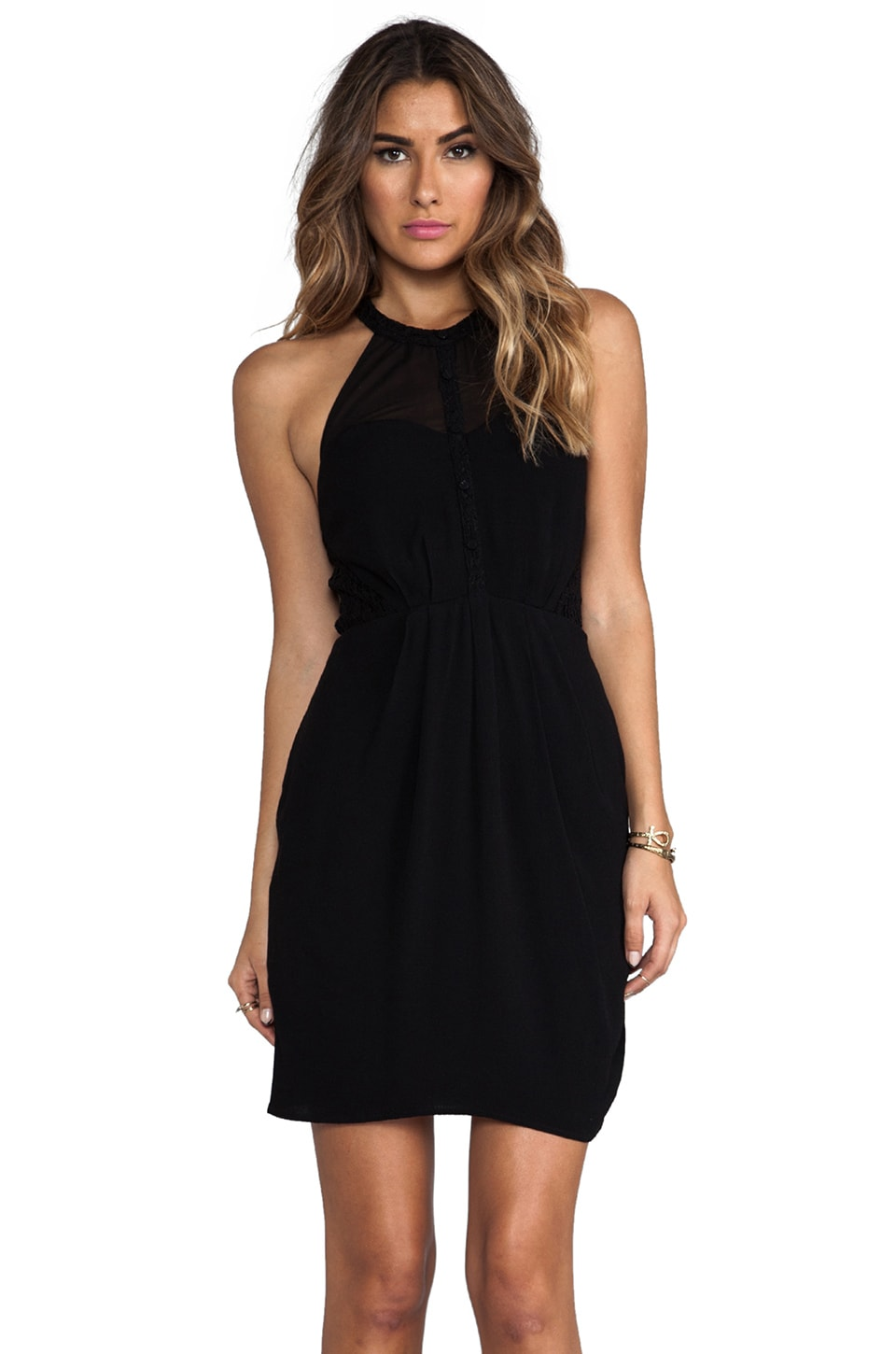 Greylin Taylor Lace Halter Dress in Black