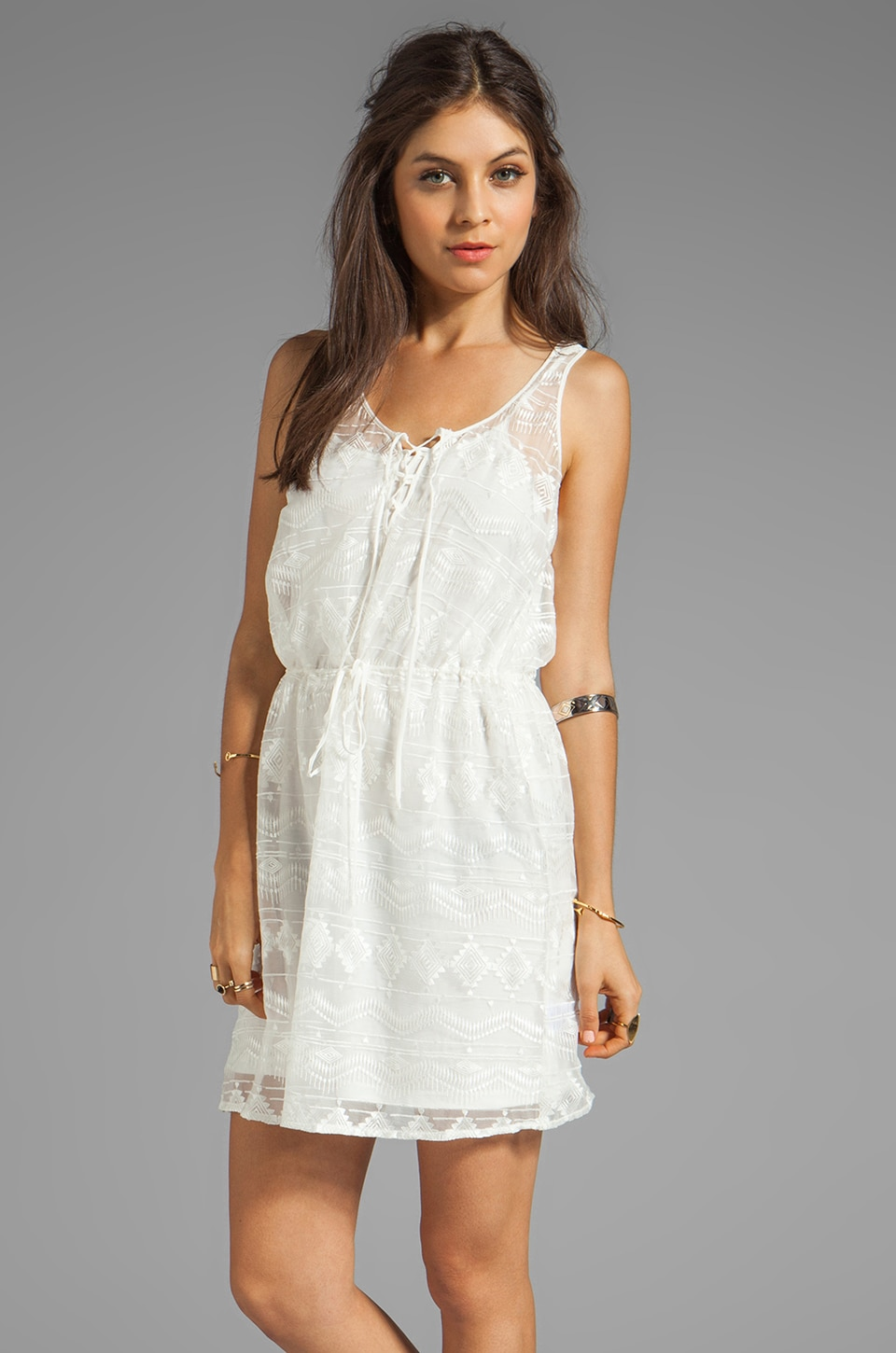 Greylin Mila Embroidered Tank Dress in Ivory