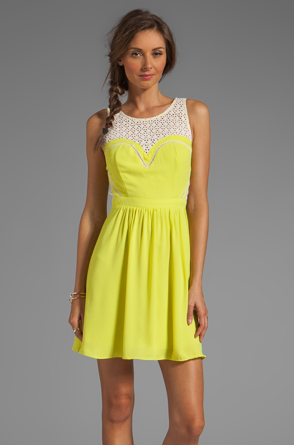 Greylin Avery Lace Cutout Dress in Citron