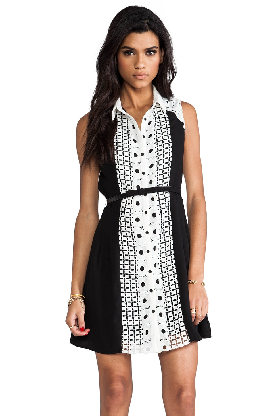 Greylin Bradshaw Shirt Dress in Black & White