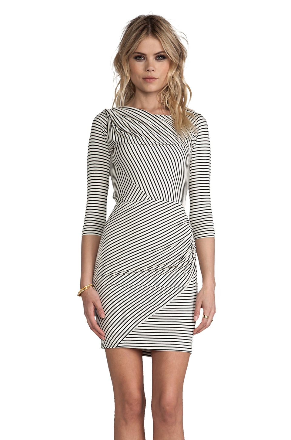 Greylin Calista Stripe Knit Dress in Ivory