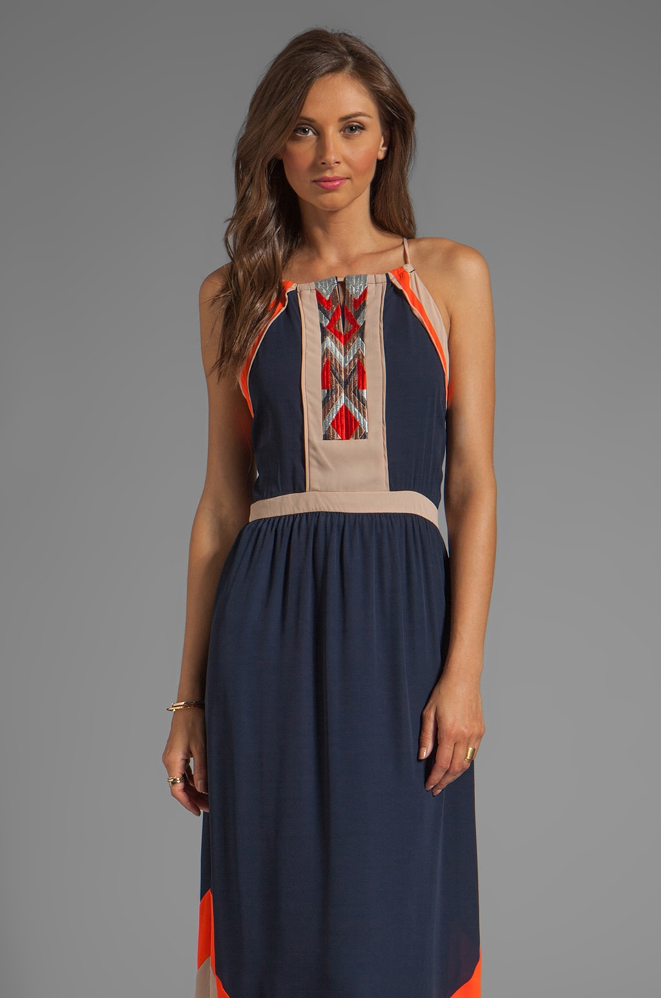 Greylin Amanda Embroidered Maxi Dress in Navy