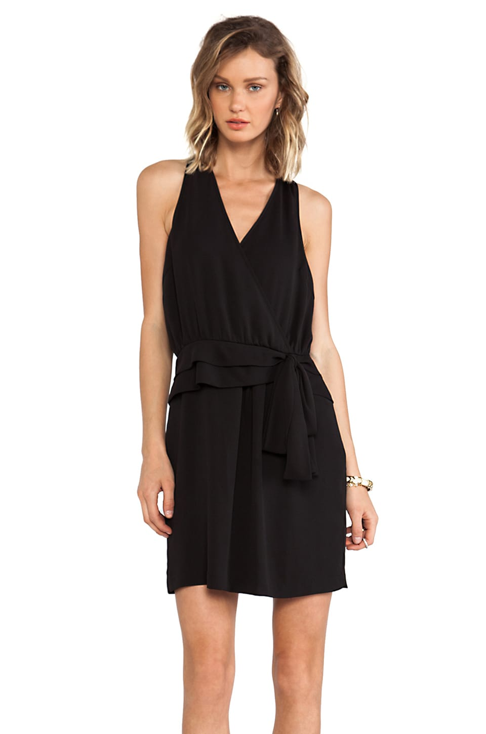 Greylin Tiffany Faux Wrap Dress in Black