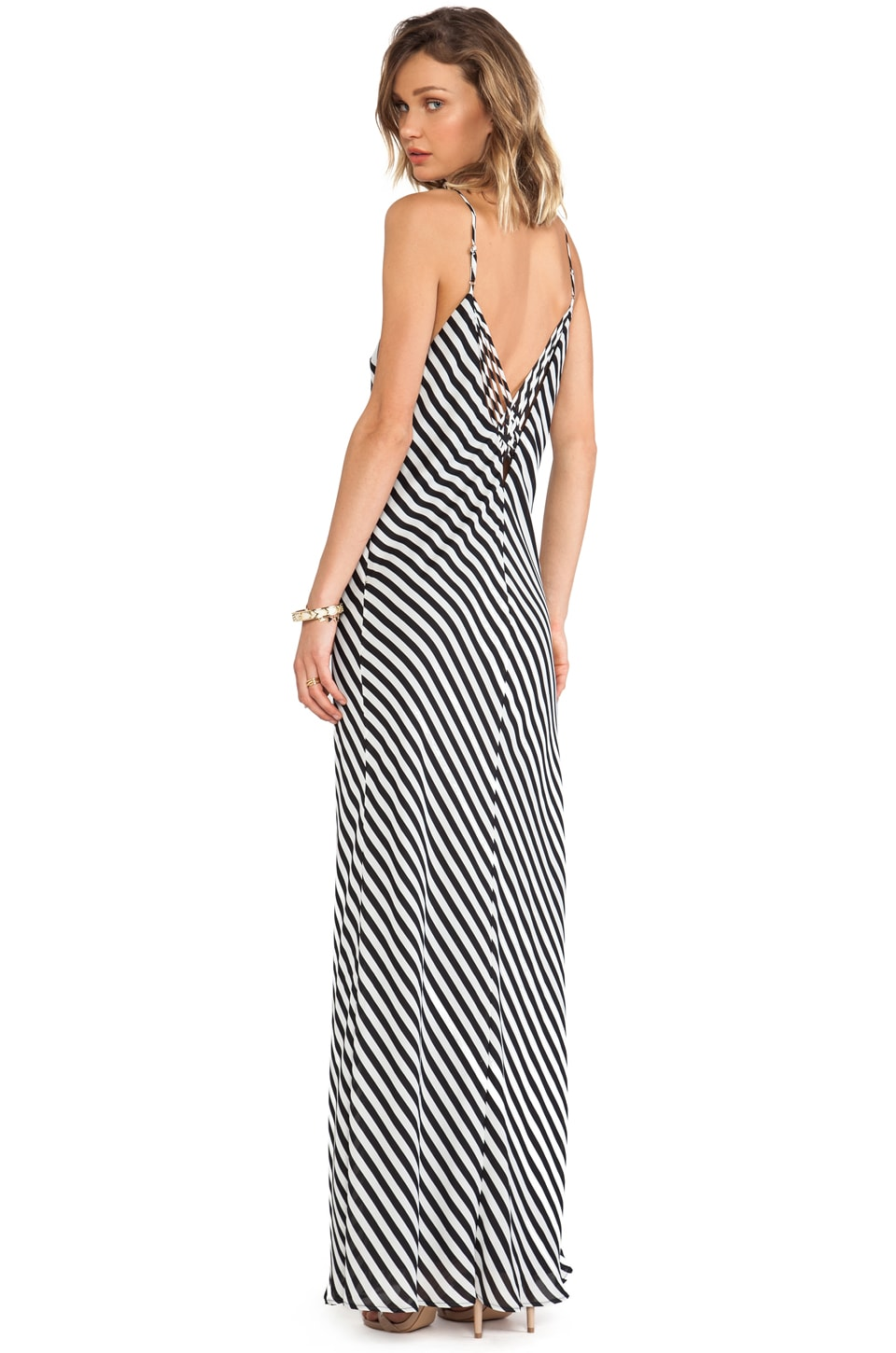 Greylin Taylor Stripe Maxi Dress in Black & White
