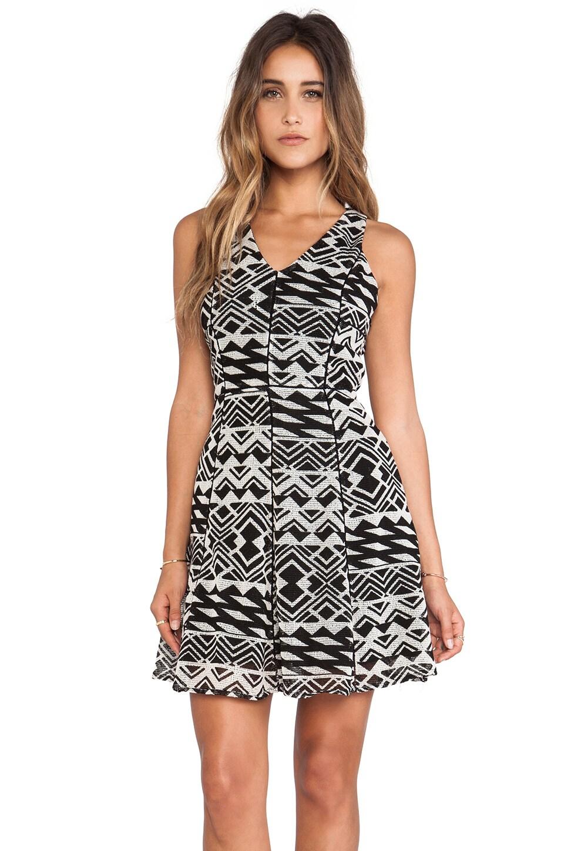 Greylin Lina Cutout Dress in Black & White