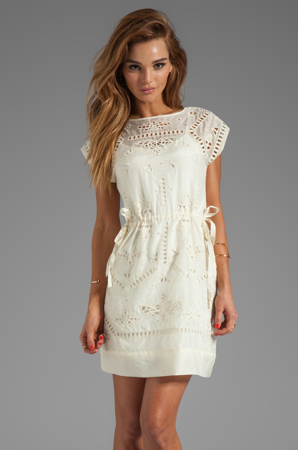 Greylin Bianca Embroidered Dress in Ivory