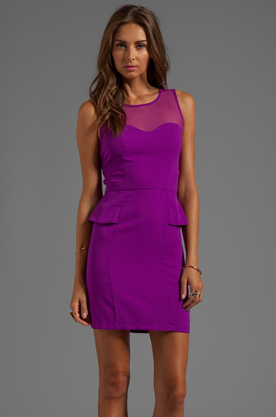 Greylin Melina Peplum Dress in Orchid